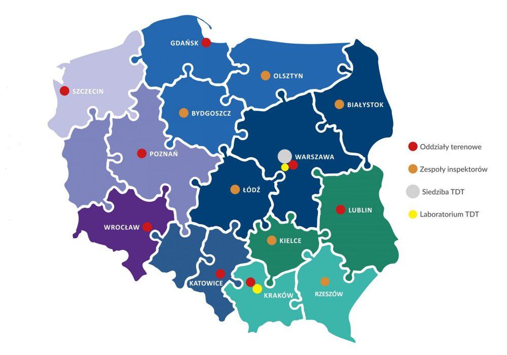 Mapa Polski z podziałem na województwa. Kolory wskazują zasięg działania poszczególnych oddziałów TDT.